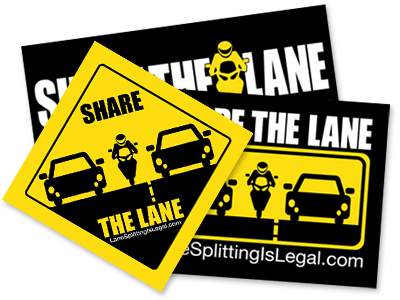 Lane Splitting / Lane Sharing Stickers - Share The Lane / Lane Splitting Is Legal