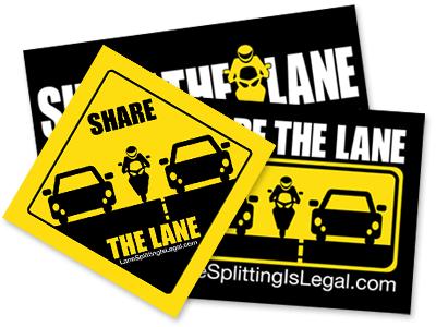 Lane Splitting / Lane Sharing Stickers - Share The Lane / Lane Splitting Is Legal