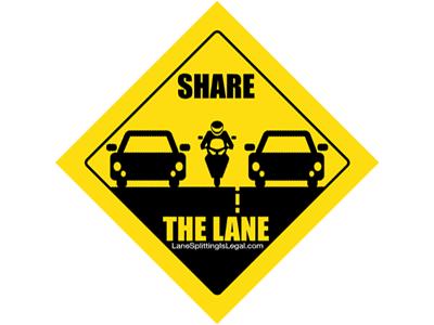 Lane Splitting Road Sign Sticker - Share The Lane