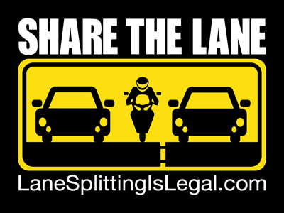 "Share The Lane - Lane Splitting Is Legal sticker - 4"" x 3"""