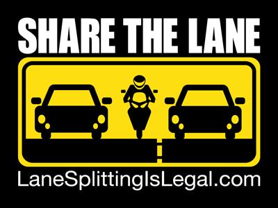"Share The Lane - Lane Splitting Is Legal sticker - 4"" x 3"""
