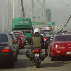Lane splitting on the San Francisco Bay Bridge