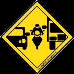 Lane Splitting Road Sign